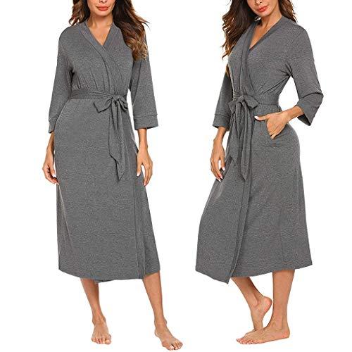(WaiiMak Women's Bathrobe Robe Belt Long Skirt Cotton Long Sleeve Nightdress Pajamas Sleepwear for Home (Dark Gray, 2XL))