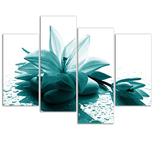 Visual Art Decor Large Flowers Picture Wall Art Teal Lily with Zen Stone Giclee Prints Modern Floral Wall Decoration for Living Room Ready to Hang (Lily) - Lily Floral Art