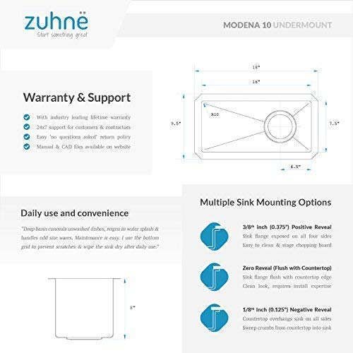 Zuhne Modena 10 x 18 Inch Undermount Single Bowl 16 Gauge Stainless Steel Bar or Prep Kitchen Sink by Zuhne (Image #6)
