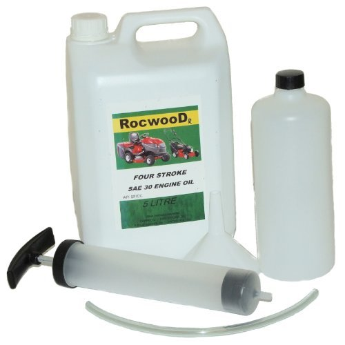5 Litres Of SAE30 Engine Oil & Manual Fluid Extractor Kit For Lawnmowers RocwooD