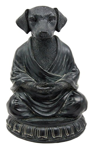 Dog Figurine Collectible (Atlantic Collectibles Meditating Buddha Dog Figurine Zen Koan Monk Dharma Sculpture 6
