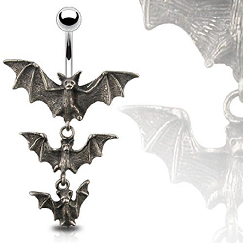 14G Gothic Tri-Vampire Bats Dangle Navel Ring - Gothic Belly Ring