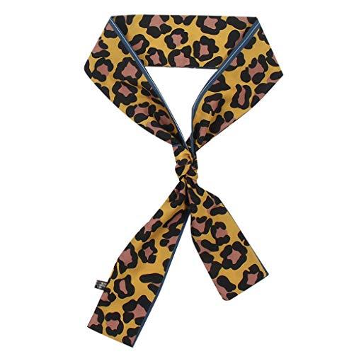 Scarfs Women Ladies Leopard Print Scarf Wrap Shawls Soft Silk Scarf Ribbon Headwear for Ladies and Girls
