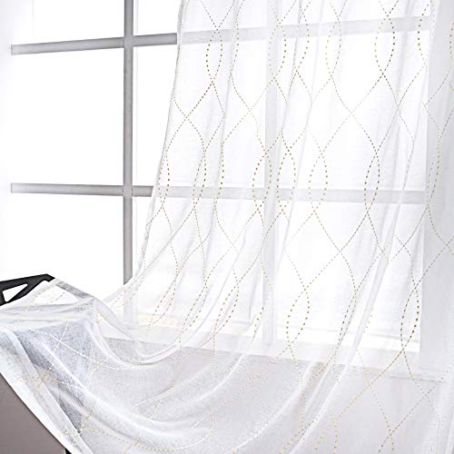 VISIONTEX White Sheer Curtains Beige Dots Embroidery Faux Linen Rod Pocket Curtains for Living Room 54 x 84 Inch, Set of 2 Curtain Panels