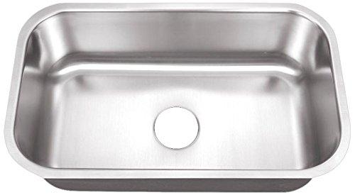 Belle Foret BFM408 Undermount 0-Hole Single Bowl Kitchen Sink, Stainless Steel, 30-Inch x 18-Inch x 9 -Inch
