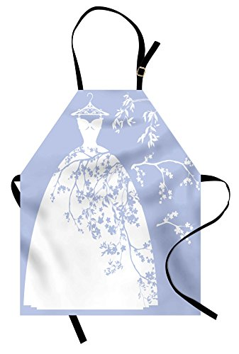 Ambesonne Bridal Shower Apron, Wedding Bride Dress with Floral Swirl Details Image Artowrk Print, Unisex Kitchen Bib Apron with Adjustable Neck for Cooking Baking Gardening, Blue White ()