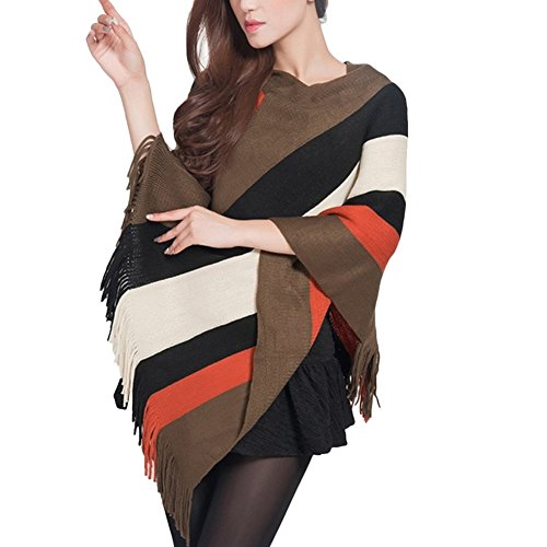 Women Striped Tassel Loose Tops Shawl Cape Wrap Poncho Knitted Scarf Cloak Coat (One Size, 03) by XZmy (Image #2)