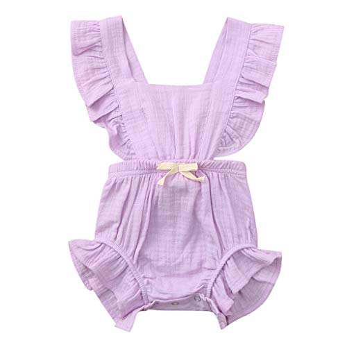 WOCACHI Toddler Baby Girls Clothes, Newborn Infant Baby Girls Color Solid Ruffles Backcross Romper Bodysuit Outfits Sundress Mom Daughter Son Coverall Layette Sets Best Gift Multi Essentials 0-3M