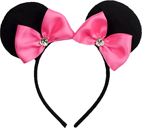 Minnie Mouse Ears Inspired Headband Hot Pink Ribbon Hair Bow Women Mickey Birthday Party Theme Outfit by Sweet in the City -