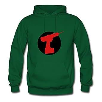 Women Round Cordless Drill Logo Print Sweatshirts Green Creative Shirts With X-large