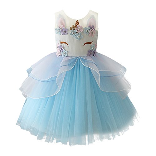 Baby Girls Flower Unicorn Costume Cosplay Princess Dress Up Birthday Pageant Party Dance Skirt Outfits Short Evening Gowns Blue 6-7 Years]()
