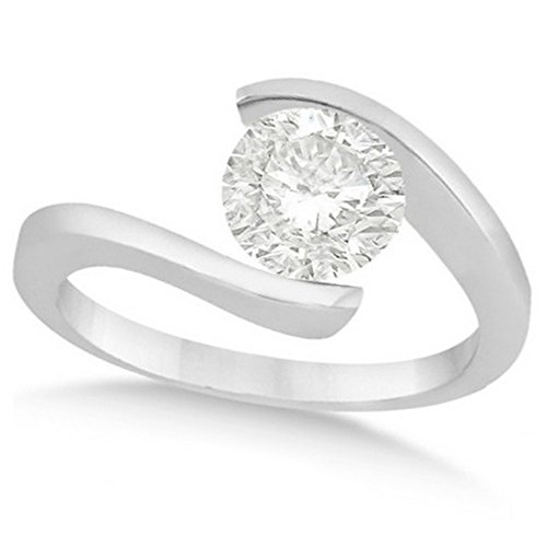 (Ladies Tension Set, Twisted Solitaire Diamond Engagement Ring, Bypass Style Palladium 0.75ct)