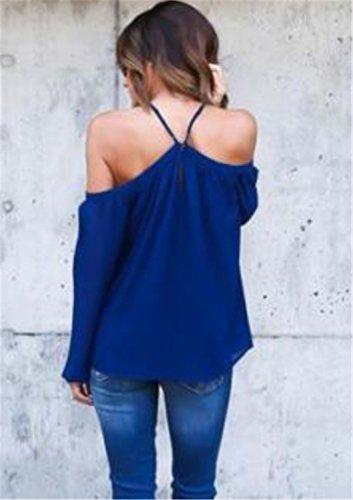 Camisetas Mujer YOGLY Camisetas Para Mujer Blusa de Gasa Hombro Hueco Fría Hombro Manga Larga Tops Azul