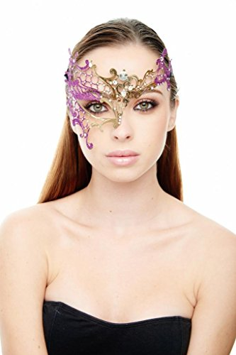 [KAYSO INC Signature Gold Phantom Of The Opera Venetian Laser Cut Masquerade Mask w/ Glitters,] (Purple Feather Mask)