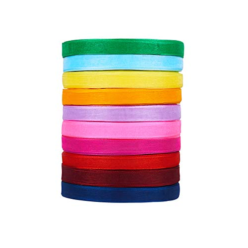 Fashewelry 10 Rolls Mixed Colors Sheer Organza Ribbons Roll 3/8