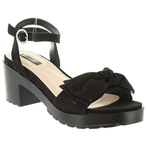 Fiona Mujer Cuero Sandalias De Negro 01 Chika10 tqnn1RWF