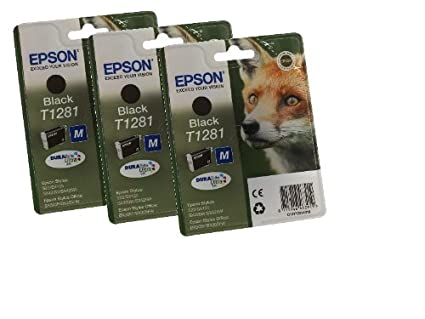 Epson T1281x3 - Pack de 3 cartuchos de tinta para impresoras Epson, color negro, Ya disponible en Amazon Dash Replenishment