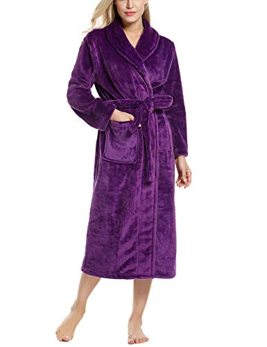 Ekouaer Women's Men's Flannel Robe Ultra-Soft Plush Microfiber Bathrobe (Purple, Large) (Robe Inc Monster)