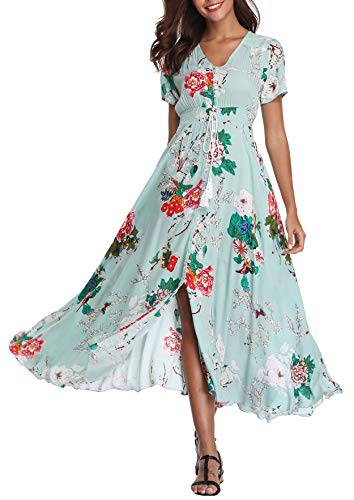- Women's Floral Maxi Dresses Boho Button up Split Beach Party Long Dress