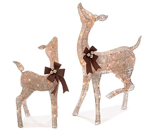 Home Improvements Holiday - 2 Piece Light-Up Holiday Rustic Brown Deer Set - Doe And Fawn Reindeer - 38 Inches Tall - 105 Lights (Outdoor Reindeer Decorations)