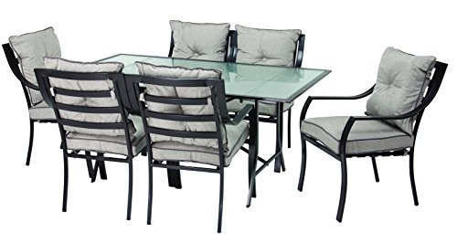 Hanover ODLA-7PC-CU-GL Lavallette 7-Piece Outdoor Dining Set - Item may ship in more than one box and may arrive separately Constructed of rust-resistant, heavy-duty steel Powder coated to increase lifespan - patio-furniture, dining-sets-patio-funiture, patio - 41%2BmiMs5SlL -