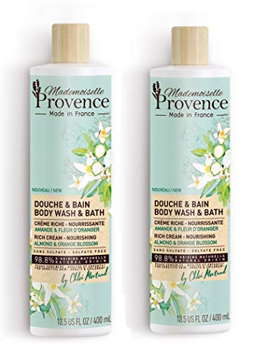 Mademoiselle Provence Sulfate Free Organic Almond Body Wash with Orange Blossom Extracts, Vegan Natural Bath & Shower Body Cleanser, Nourishing Formula for Sensitive Skin (Pack of 2)