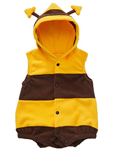 Kidsform Unisex Baby Halloween Costume Cosplay Animal Ladybug Flannel Romper Pajamas Outfits Dress Up Hoodie Jumpsuit Yellow 12-18M by Kidsform (Image #3)
