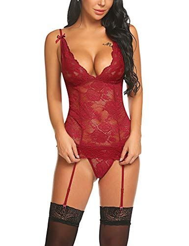 Avidlove Women Lace Babydoll with Garter Mini Teddy Bodysuit Sexy Lingerie Backless Chemise Babydoll Bodysuit Wine Red S