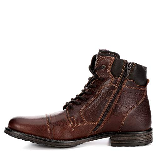 AM Shoes Mens Leather Cap Toe Lace Up Work Boot Shoes