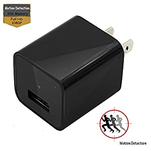 Hidden Cameras Charger Adapter,Eovas 1080P HD USB Wall Charger Hidden Camera/Nanny Spy Camera Adapter with 32G Internal Memory - Update Version