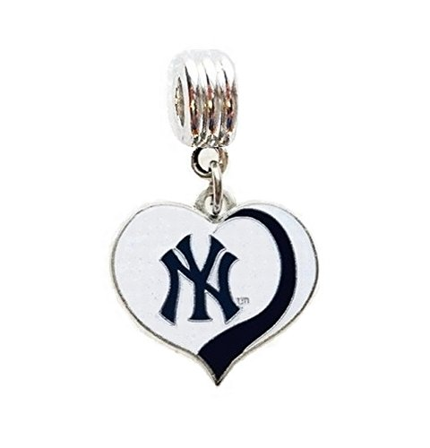 Heavens Jewelry NY NEW YORK YANKEES BASEBALL TEAM HEART CHARM SLIDER PENDANT FOR YOUR NECKLACE EUROPEAN CHARM BRACELET (Fits Most Name Brands) DIY PROJECTS ETC