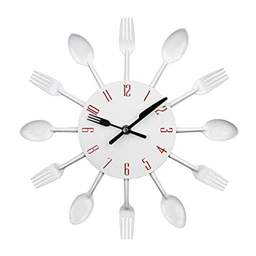 ADAHX Cutlery Metal Kitchen Wall Clock Spoon Fork Creative Quartz Wall Mounted Clocks Modern Design Decorative Horloge Unique Style Wall Watch,White