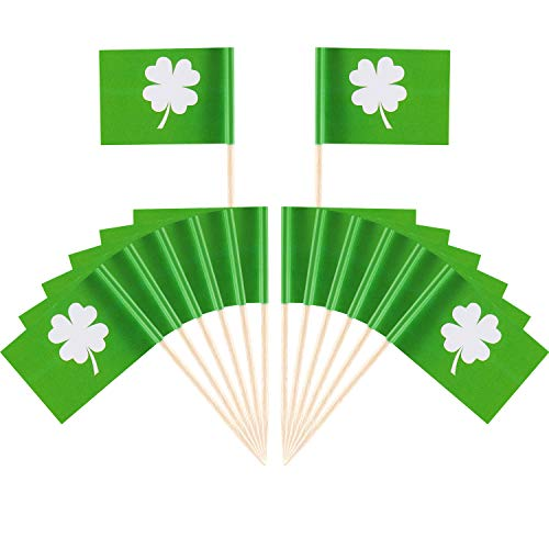 (Boao 200 Pieces St. Patrick's Day Cake Toppers Shamrock Cupcake Topper Picks Toothpick Flag for Irish Party Supplies Cake Decoration)