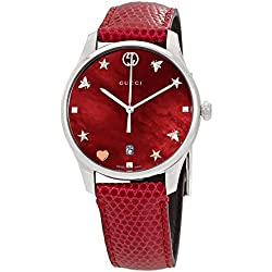 ed098822468 Gucci G-Timeless Mother of Pearl Dial Leather Strap Ladies Watch YA1264041