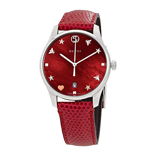 Gucci G-Timeless Mother of Pearl Dial Leather Strap Ladies Watch YA1264041