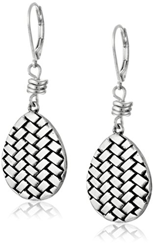 Basketweave Drop Earrings (The SAK Basket Weave Silver Drop Earrings)
