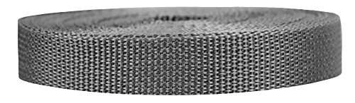 Strapworks Lightweight Polypropylene Webbing - Poly Strapping for Outdoor DIY Gear Repair, Pet Collars – 3/4 Inch x 10 Yards, Charcoal