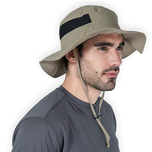 Tough Headwear Outdoor Boonie Sun Hat - UPF 50 Protection for Men & Women. Wide Brim Summer Hat. Waterproof for Fishing, Hiking, Camping, Boating & Outdoor Adventures. Breathable Nylon & Mesh