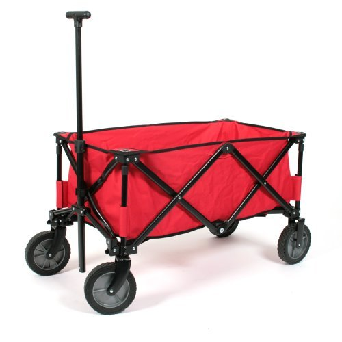 Practical Folding Handcart Deluxe Red with Strengthened Base Maximum Load 70 kg by Kid 'n Joy