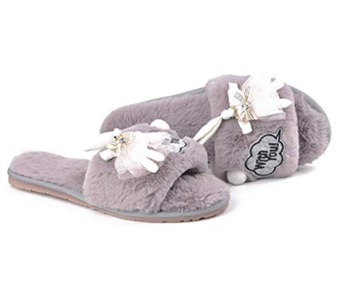 Warm Bedroom for Cute Lining Slippers Womens Slide Toe Comfort Shoes Open Fur Gray Fuzzy Plush House rCwqFUXr