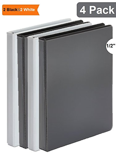 1InTheOffice 3 Ring Binder 1/2 inch, 1/2'' Capacity View Binder, 2 White & 2 Black by 1InTheOffice