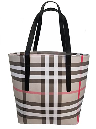 Women's tote bag with plaid print. This top handle shoulder handbag is Perfect for Spring and Summer. Spring forward sale! (plaid)