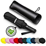 Wsky Auto Windproof Umbrella - Best 10 RIBS Folding Travel Umbrella with Bonus Leather Cover for Men Women - Perfect for Travel, Rain, Storms, Hail or Harsh Outdoors
