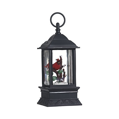Lighted Snow Globe Lantern: 9.5 Inch, Black Holiday Water Lantern by RAZ Imports (Cardinal) from RAZ Imports