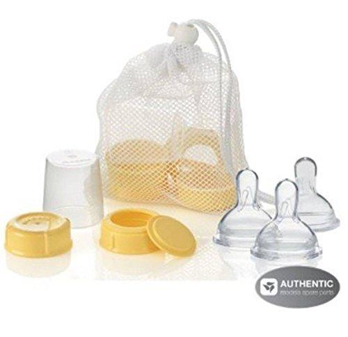 Medela Breastmilk Bottle Spare Parts with 3 Slow-flow Wide Base Nipples by Medela