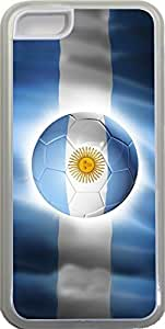 LJF phone case Rikki KnightTM Brazil World Cup 2014 Argentina Team Football Soccer Flag Design iPhone 5c Case Cover (Clear Rubber with bumper protection) for Apple iPhone 5c
