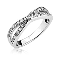 Sterling Silver Half Eternity Ring Round Cubic Zirconia CZ Eternity Ring - Nickel Free Engagement Wedding Eternity Ring (Available in Sizes 5 to 9) by Cavalier Jewelers