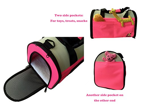Reelok Portable Soft Sided Airline Approved Dog Carrier Pet Travel Bag Pet Home Comfortable Pink Carrier for Cats, Puppies and Small Animals by Reelok (Image #2)