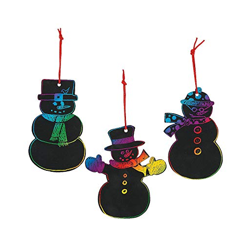 Fun Express - Magic Color Scratch Snowman Ornaments for Winter - Craft Supplies - Magic Scratch - Ornaments - Winter - 24 Pieces]()
