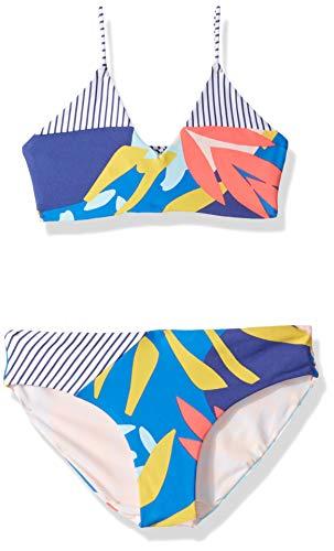 Maaji Little Girls' Bralette with Adjustable Lace Up Back Bikini Swimsuit Set, Lagoon Azure Blue Stripe Geo, 06